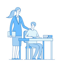 Teacher and smart student young woman at desk vector