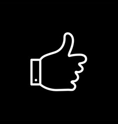 thumbs up line icon on black background black vector image