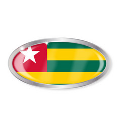 Togo flag oval button vector
