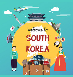 Welcome to south korea with souvenir and landmarks vector