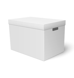White cardboard storage box template vector image