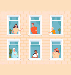 window people happy neighbourhoods characters vector image