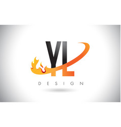 yl y l letter logo with fire flames design and vector image