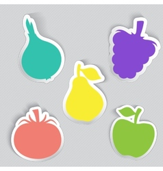 Autumn stickers set in fruits and vegetables shape vector image