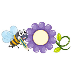 bee and purple flower vector image vector image