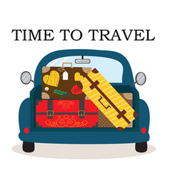 car with luggage going to the trip vector image