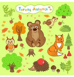 children is drawings of cute forest animals vector image vector image