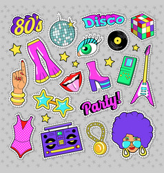 disco party retro fashion elements with guitar vector image vector image