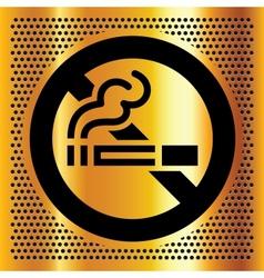 No smoking symbol on a gold backdrop vector image