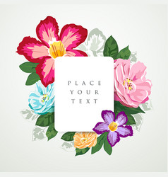 beautiful flora with white paper card isolated vector image vector image