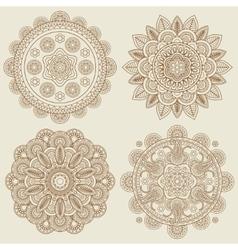 Indian doodle boho floral mehendi mandalas set vector image vector image