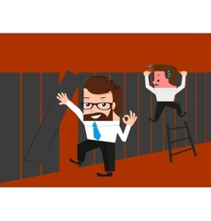 Lucky businessman knows easy route through fence vector image