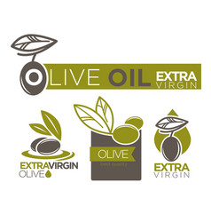 olive oil extra virgin flat logotypes set on white vector image vector image