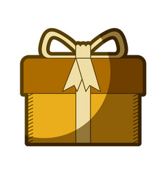 yellow aged silhouette of gift box with decorative vector image vector image