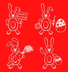 cartoon bunny set vector image vector image