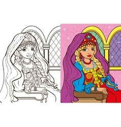 Colouring Book Of Russian Princess vector image vector image