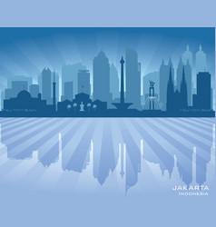 jakarta indonesia city skyline silhouette vector image vector image