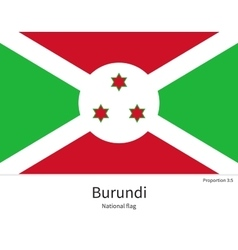National flag of Burundi with correct proportions vector image