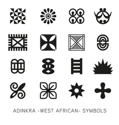set of akan and adinkra -west african- symbols vec vector image vector image