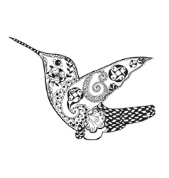 Zentangle stylized hummingbird Sketch for tattoo vector image vector image