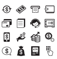 finance amp banking icons credit card atm vector image