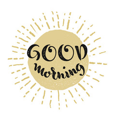 good morning lettering smiling sun vector image