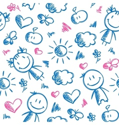 hand drawn kid pattern vector image vector image