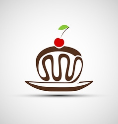 icons of chocolate cake with cherries vector image vector image