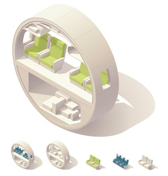 Isometric aircraft cabin cross-section vector image vector image