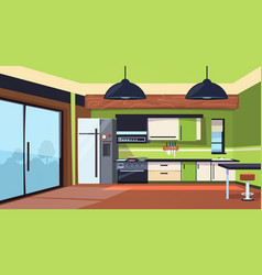modern kitchen interior with stove fridge and vector image vector image
