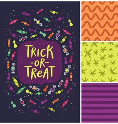 Trick or treat card and patterns vector image vector image