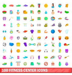 100 fitness center icons set cartoon style vector image