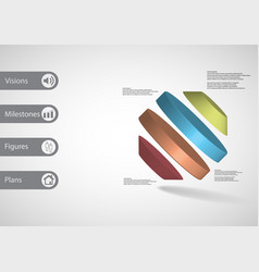 3d infographic template with rotated octagon vector