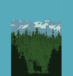 A deer in a forest against a background of vector