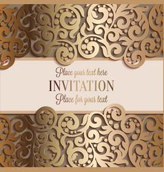 Antique luxury wedding invitation gold on beige vector