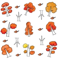 Autumn tree set of doodles vector