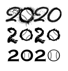 Baseball 2020 new year numbers vector