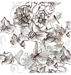 beautiful seamless floral wallpaper patter floral vector image