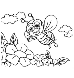 Bee Coloring Pages vector image