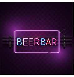 beer bar square frame neon sign image vector image