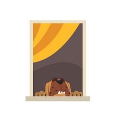 big brown dog looking through window cartoon vector image