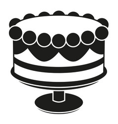 black and white birthday cake on stand silhouette vector image