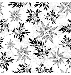 black and white tropical leaves summer vector image