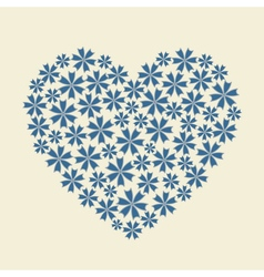 Blue heart flower bouquet icon vector