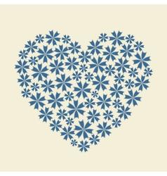 Blue heart flower bouquet icon vector image