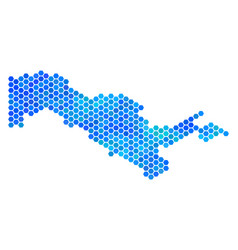 Blue hexagon uzbekistan map vector