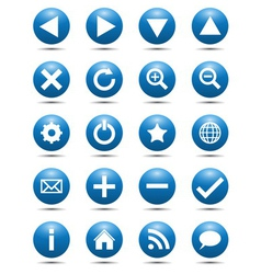Blue Navigation Web Icons vector image