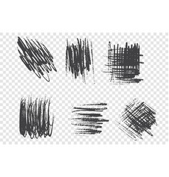 brushstroke scribbles set vector image