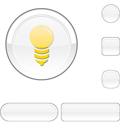 Bulb white button vector