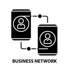 Business network icon black sign with vector